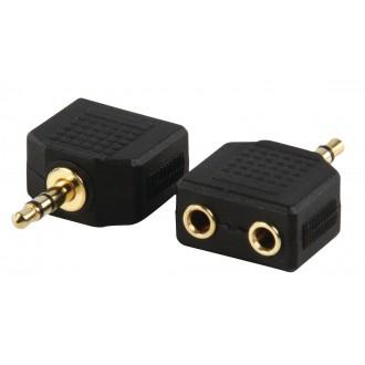 Redukcia jack 3.5mm stereo zástrčka na 2 x 3.5mm stereo zásuvka