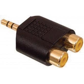 Adaptér s 3,5 mm stereozástrčkou a 2x RCA zásuvkami, pozlátený
